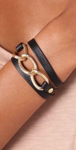 Leather & gold wrap bracelet