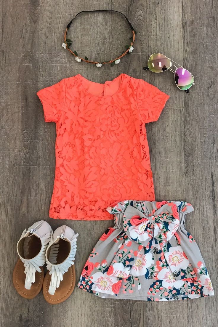 Coral and Gray Floral Skirt Set