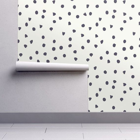 Modern Wallpaper  Chocolate Chip Polka Dots Pattern by Spoonflower