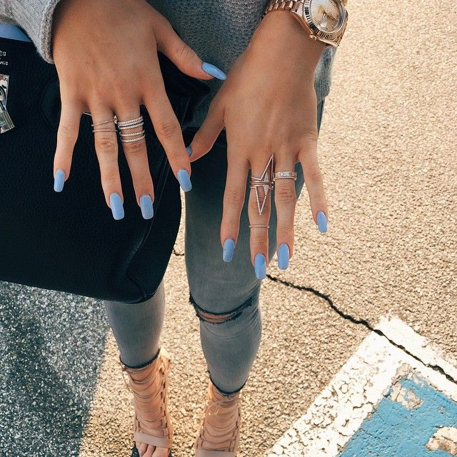 Kylie Jenner Kardashian Celebrity Dope Nails Gold Ring Jewellery Multi Multiple Style Fashion Accessories Square Blue