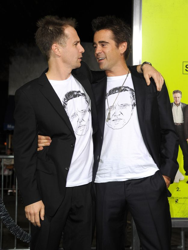 Sam Rockwell And Colin Farrell Attend Movie Premiere In Matching Christopher Walken Shirts.  Walken is in this photo 3 times!