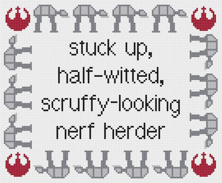 Star Wars: Empire Strikes Back Princess Leia quote cross stitch sampler pattern. £2.30, via Etsy.