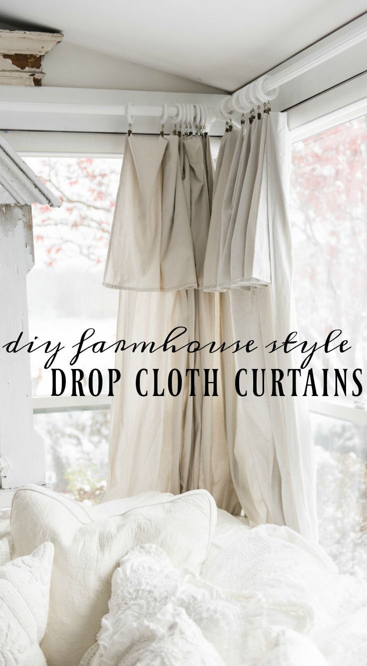 Bed canopy ideas for any budget - Diy Drop Cloth Curtains In The Sunroom
