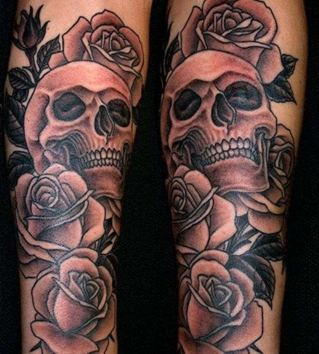 Dark Rose And Skull Tattoo Designs Idea For Men - http://tattooideastrend.com/dark-rose-and-skull-tattoo-designs-idea-for-men/ -