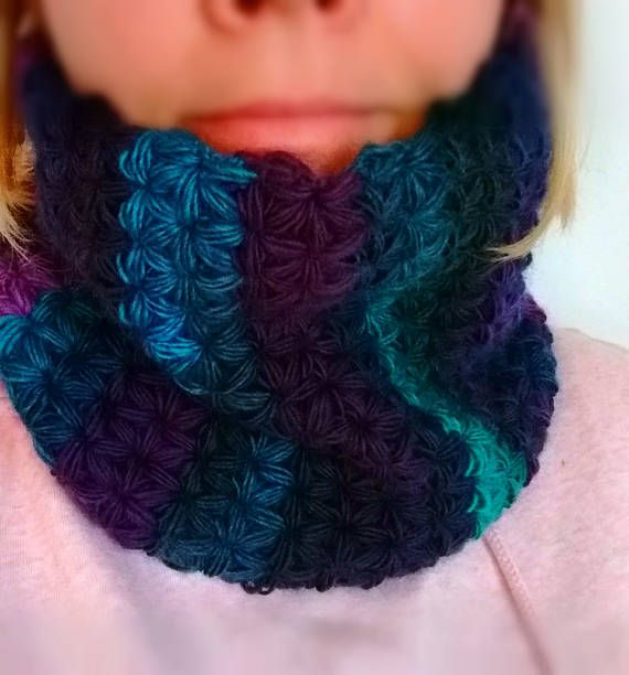 Crochet neck warmer woolen cowl knitted scarf adults circle