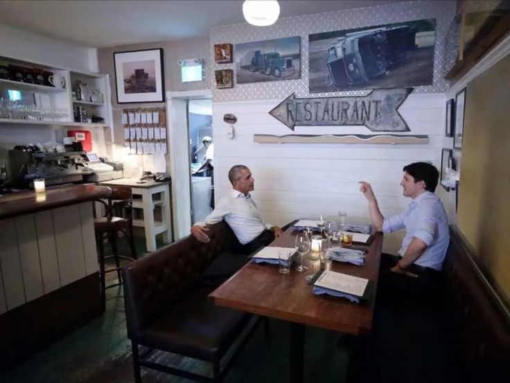 Barack Obama grabbed a bite to eat with Justin Trudeau at Liverpool House after the former president's speech at Palais des congrès on Tuesday, June 6, 2017.