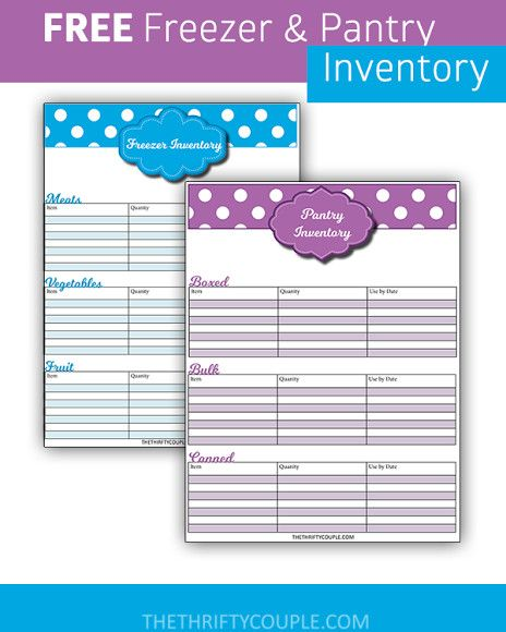 Take Back Your Finances #18: Create Freezer and Pantry Inventory (Free Printable Inventory Sheets)
