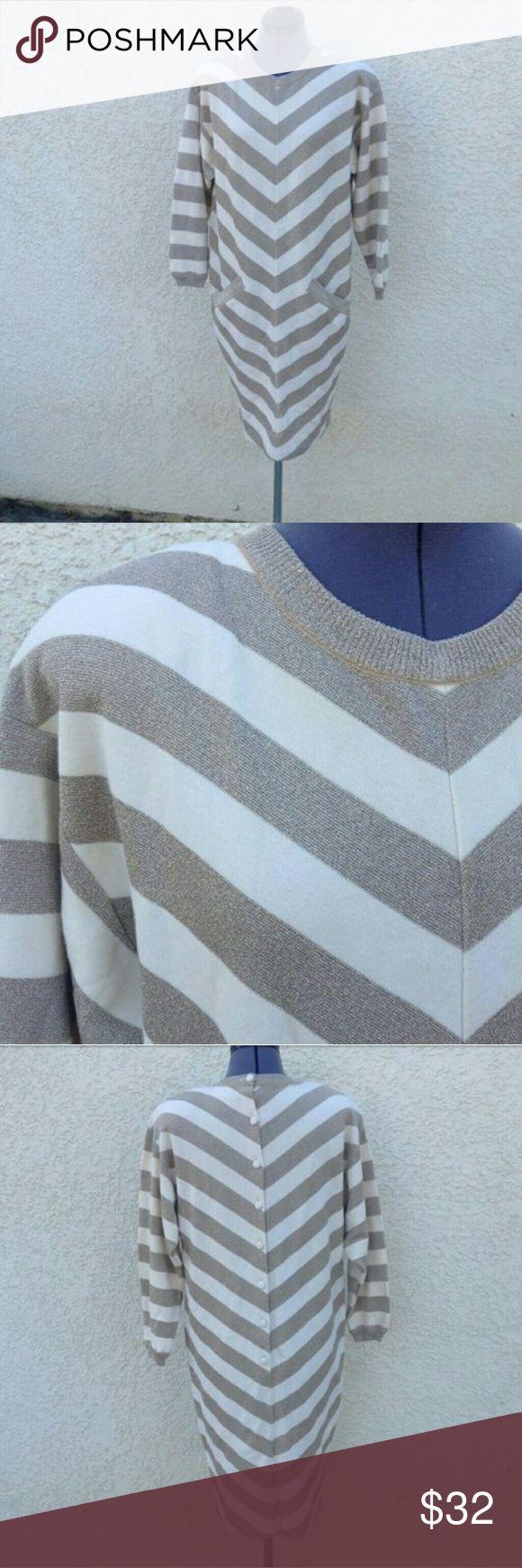 Spotted while shopping on Poshmark: Vintage 80s Bill Blass gold chevron knit dress! #poshmark #fashion #shopping #style #bill blass #Dresses & Skirts
