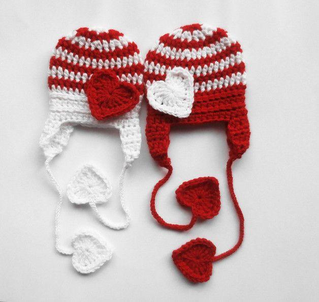 Hand gestrickt Baby-Herz-Hut wird aus feinsten Acrylfasern in schönen roten und weißen Farben für Ihr süßes Baby gemacht ♥ Dieser Hut würde ein entzückendes Fotostütze, Babypartygeschenk zu...