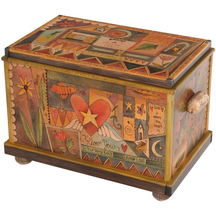 Sticks creates this artistic one-of-a-kind chest/trunk, constructed of hard wood. Hand drawn whimsical designs are burnt in, and then painted.