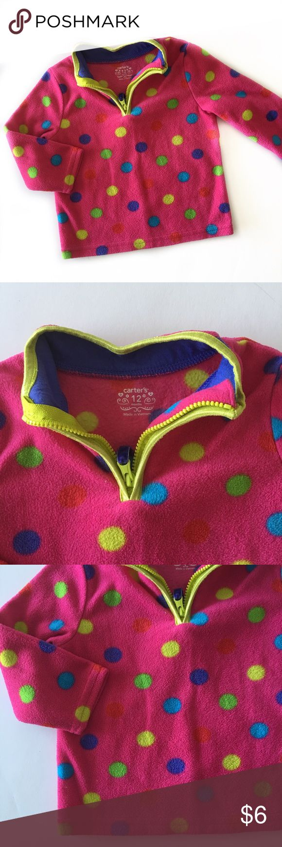 Carter's Fleece Pullover Super soft and cumfy, like new! Bright neon colored spots and lime green piping around the neck and zipper. Carter's Shirts & Tops Sweatshirts & Hoodies