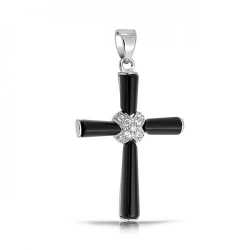 Bling Jewelry 925 Silver Black Onyx CZ Pave Crucifix Pendant