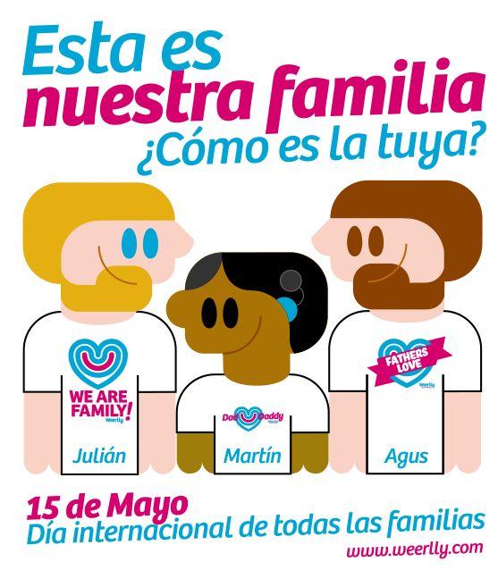 Somos Julián, Agus y Martín. Esta es mi #familia. ¿Cómo es la tuya? Dinos cómo es tu familia #homoparental y te la dibujaremos para felicitar el día de todas las familias... #FELICIDADES
