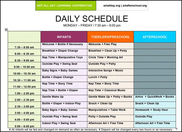 Pictures of preschool daily routines arts afterschool for Table 6 hours