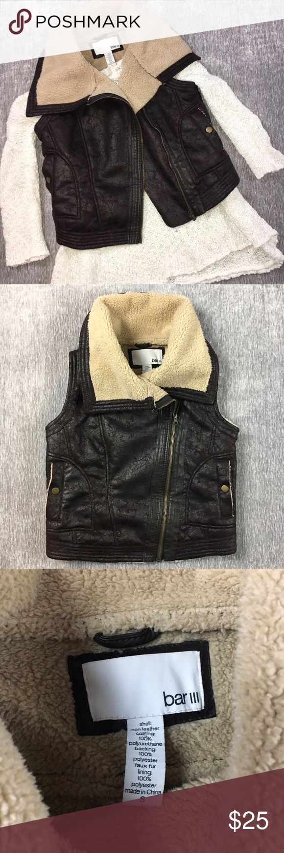 Bar III Fur Collar Bomber Motorcycle Leather Vest Bar III Moto Brown Distressed faux Leather Best. Has faux fur lining and collar. Seams and buttons on pockets to depict a bomber jacket style. Zips up asymmetrically and can be worn zipped or open. Super cute and great for layering. Excellent condition! Bar III Jackets & Coats Vests