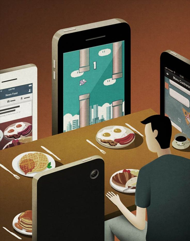 People today use dinner time as an opportunity to check out of the world and use their phones, instead of talking to others.