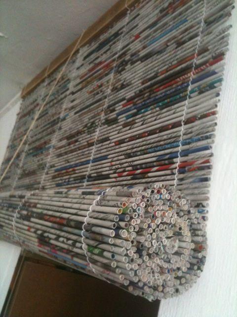 cortina de papel de diario