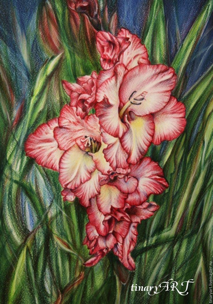 Купить Рисунок цветными карандашами Гладиолус - ярко-красный, зеленый, цветок, гладиолус, рисунок, картина