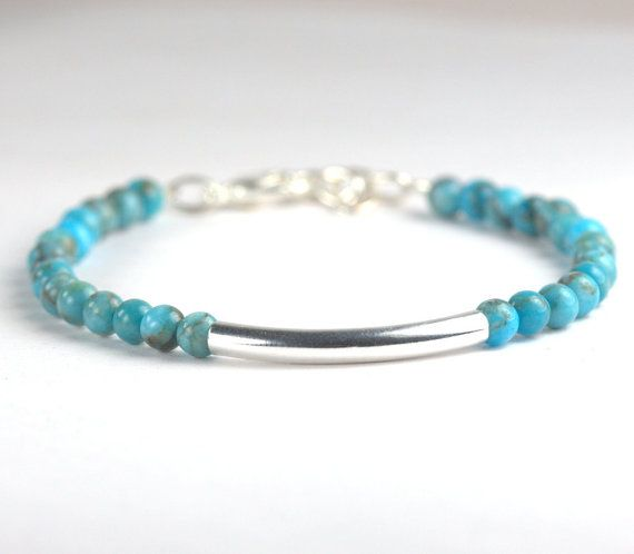 Silver Bar and African Turquoise Bead Bracelet by TheresaRose, $12.00