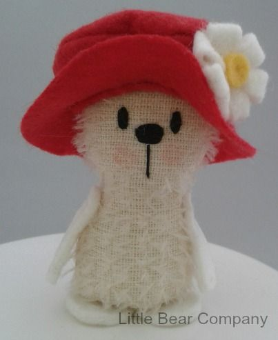 Little Bear Company White Ted handmade from mohair and wool felt, with cute red felt hat. $US25 plus postage  www.facebook.com/littlebearcompany or www.etsy.com/shop/littlebearcompany