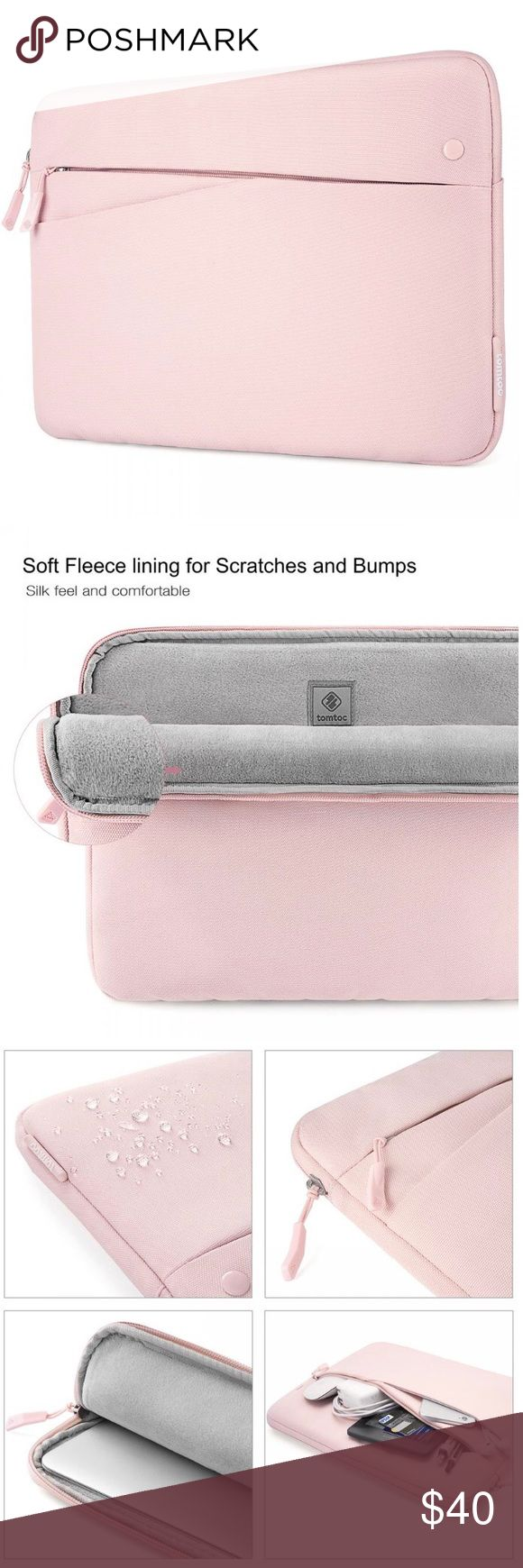 """2016/2017 MacBook Pro 13"""" Laptop Sleeve This laptop sleeve is functional with multiple compartments for accessories while providing protection from unwanted scrapes 💻✨   Product details:  - Color: baby pink  - 3 pockets: large laptop pocket, medium zipper pocket (with pen holders and small compartments), small magnetic pocket  - Soft fleece inside large laptop pocket  - Compact and slim - Internal dimensions: 11.97*8.36*0.59 inch Accessories Laptop Cases"""