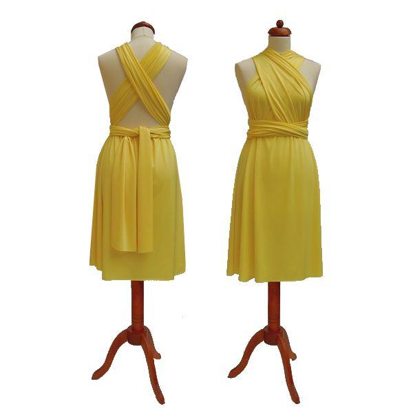 Krátké žluté šaty. Variabilní šaty Convertibles jsou ideální na svatbu, maturitní ples, společenské akce i denní nošení. Uvažte si je jakkoliv budete chtít a pokaždé v nich můžete vypadat jinak.