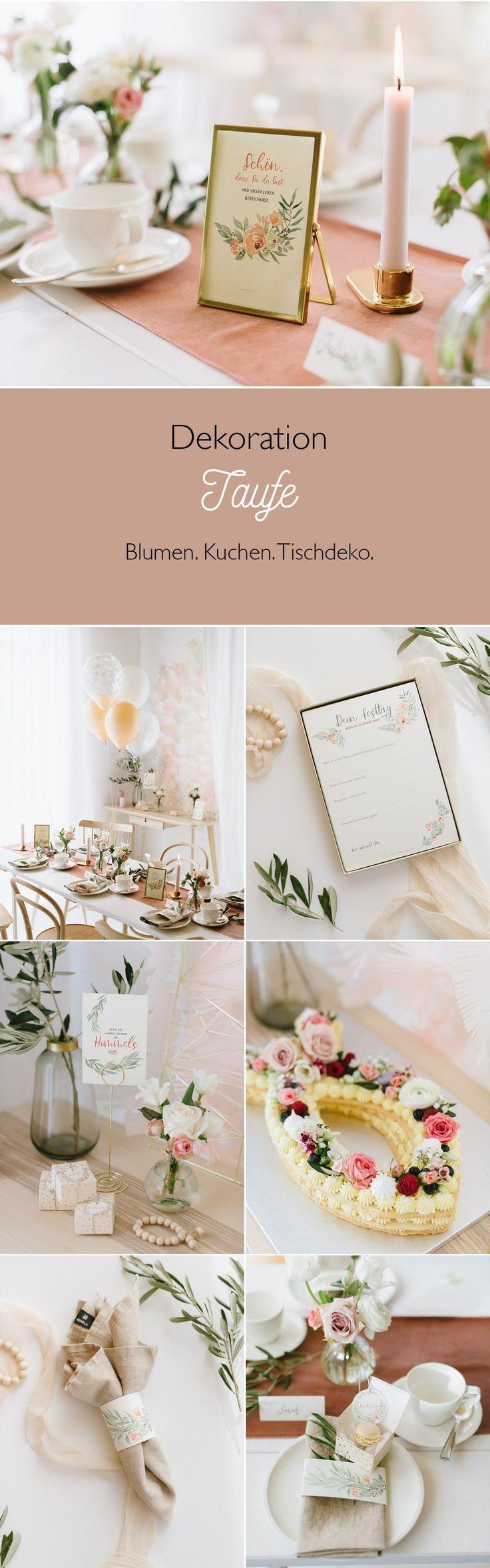 Zarte Blumendekoration für eine Tauf- oder Willkommensparty