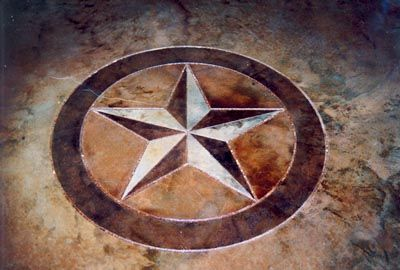 This beautiful Ranger Star custom design was acheived by concrete scoring and staining. Texas Etch & Score offers decorative finishes for concrete floors and concrete surfaces.