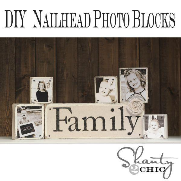 DIY nailhead photo blocks: Photo Display, Gifts Ideas, Photo Blocks, Nailhead Photo, Diy Nailhead, Christmas, Wood Blocks, Families Photo, Diy Gifts