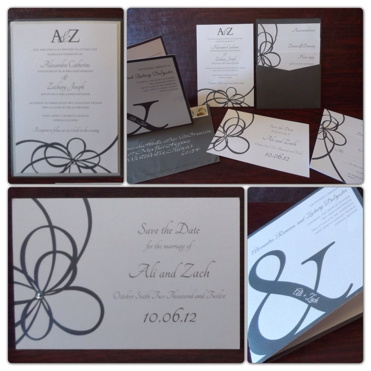 Classy grey and silver ice wedding invitation