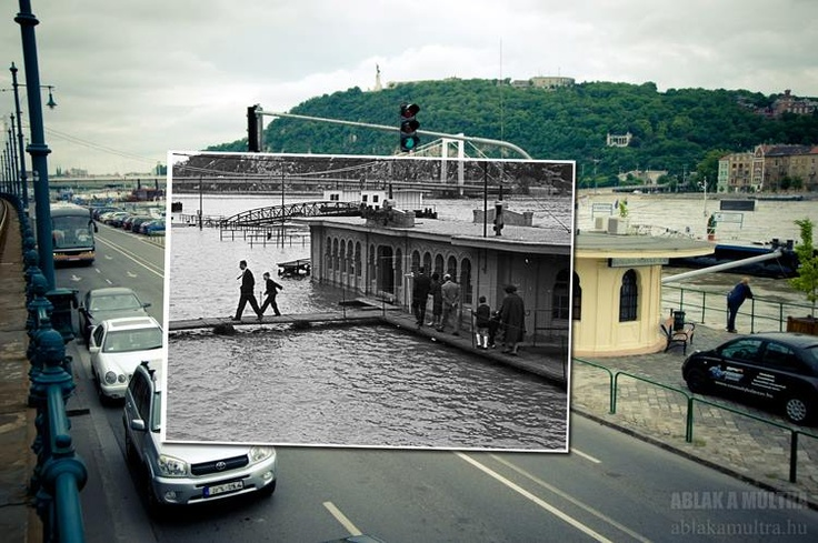 Budapest Flood | Window to the past Budapest Vigadó Port ~1965 - 2013. credit: Ablak a múltra / Window to the past. view on Fb https://www.facebook.com/BudapestPocketGuide #budapest #travel #thenandnow #flood