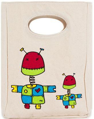 Fluf organic cotton Robot Lunch Bag - http://www.mylittlegreenshop.com/ProductDetails.asp?ProductCode=MEAL_fluf_lunch_bag