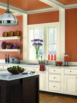 Kitchen painted in Benjamin Moore AF-225 firenze, AF-30 deep in thought, AF-175 barrista, AF-625 aplomb.