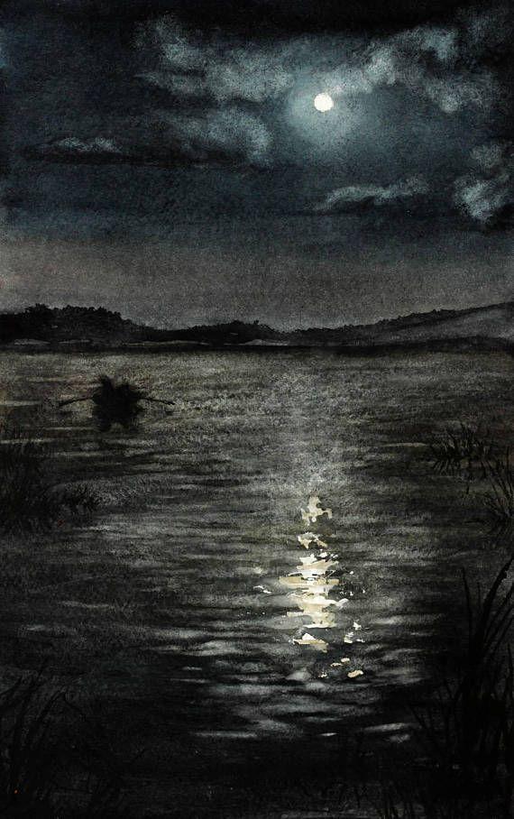 Moonlit Night River Landscape Original Watercolor Painting Moonlit Night Landscape Night Landscape Watercolor European Art Watercolor Nature Watercolor Art Night Landscape Night Painting