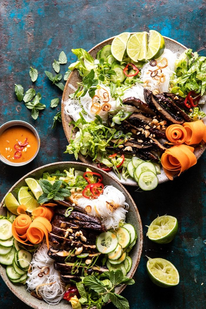 Vietnamese Rice Noodle Salad with Mushrooms and Spicy Peanut Vinaigrette