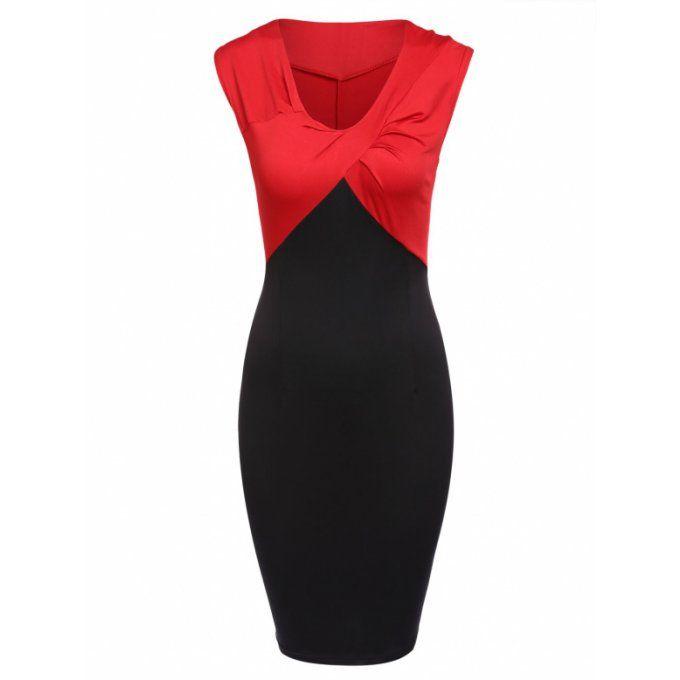 Robe chic de travail bicolore Col V noir & rouge - bestyle29.com