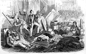 The June Rebellion, or the Paris Uprising of 1832 (French: Insurrection républicaine à Paris en juin 1832), was an unsuccessful, anti-monarchist insurrection of Parisian republicans, June 5-6, 1832.  The rebellion originated in an attempt of the republicans to reverse the establishment in 1830 of the July Monarchy of Louis-Philippe,
