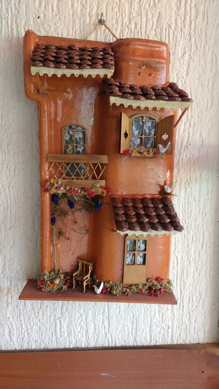 artesanato em telha telha decorada