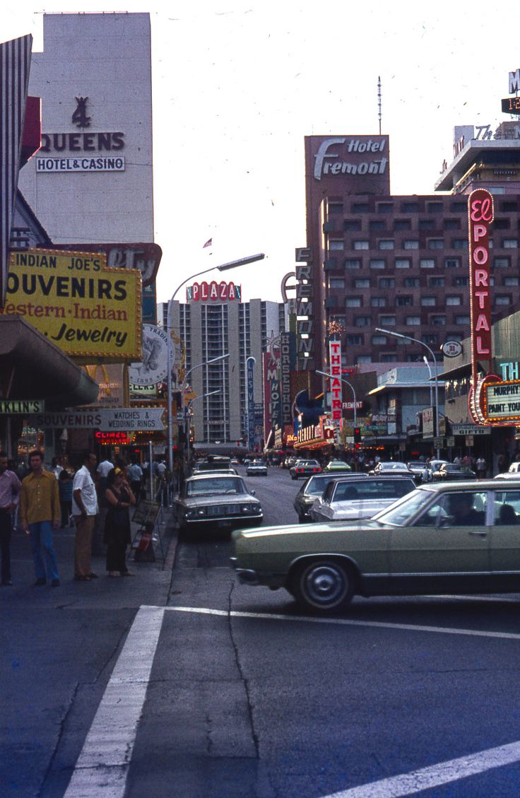 Downtown Las Vegas – Fremont St at 4th in the grimy 70s. Today this is the beginning of the Fremont Street Experience.