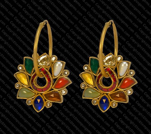 Bali with fine Navratan stones in Lotus Shape set in 22k. Gold. #mughal #designerjewelry #bridaljewelry #bridalfashion #tempusgems #indianfashion