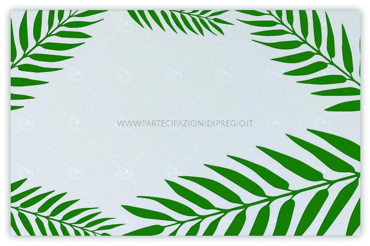 Letterpress wedding invitation - dimensione: 17 x 11 - forma: rettangolare - carta: Gmund Cotton - New Grey - 300, 600, 900 gr. - linea: foglie - modello: foglie tipo 1 ver. 3 - lavorazione press: trama