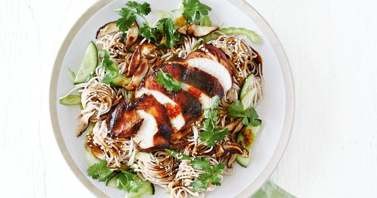 Twirl your fork around this chilled soba noodle salad topped with chicken, teriyaki sauce and fresh coriander.