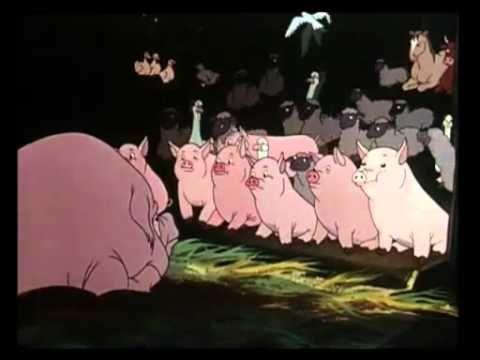 L'adaptation en dessin animé de La Ferme des animaux (Animal Farm), roman de George Orwell publié en 1945 (en 1947 pour la traduction en français), décrivant une ferme dans laquelle les animaux se révoltent puis prennent le pouvoir et chassent les hommes, à la suite de la négligence de ceux-ci à leur encontre.
