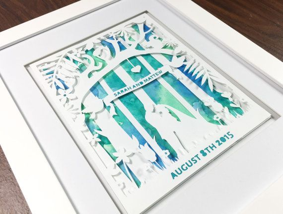 First Anniversary Gifts Bride & Groom Paper Cut by Zavyanne