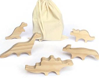 Unpainted wooden toy dinosaurs - natural waldorf set with organic varnish - kids gift for boys and girls - eco friendly toys