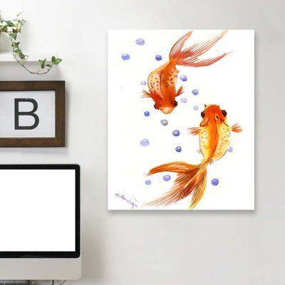 "East Urban Home 'Feng Shui Goldfish Koi 1' Graphic Art Print Material: Wrapped Canvas, Size: 24"" H x 20"" W x 1.5"" D"