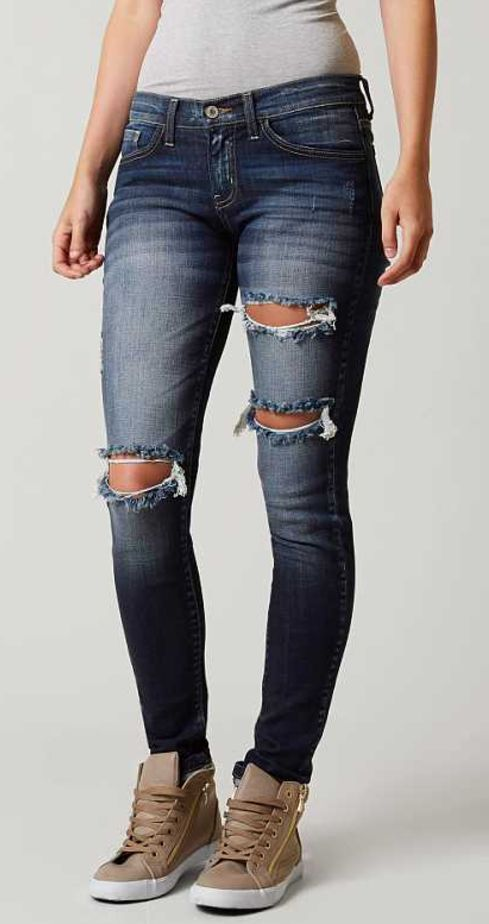 Dark Destructed Jeans : KanCan Lowrise Skinny Stretch Jean | Buckle