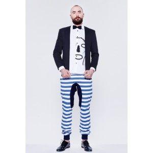BLUE EYE POP - męskie spodnie w biało niebieskie pasy