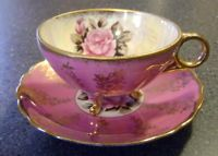 Royal Sealy Rose 3 Footed Teacup & Saucer with Gold Trim - Vintage Japan