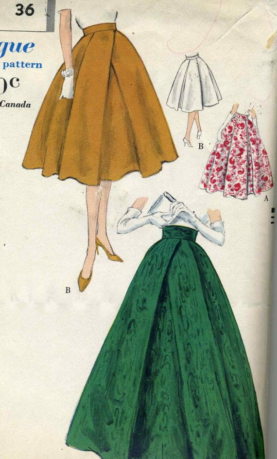 1950s Vogue Misses full Skirt Pattern